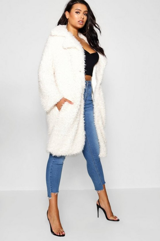 Plus Long Sleeve Faux Fur Coat