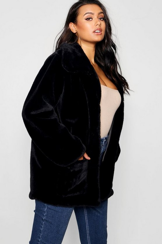 Black Plus Supersoft Faux Fur Pocket Jacket