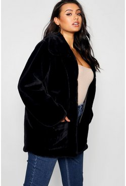 Womens Black Plus Supersoft Faux Fur Pocket Jacket