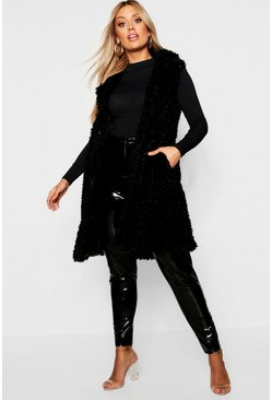 Womens Black Plus Shaggy Faux Fur Gilet