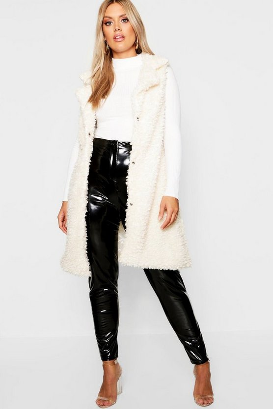 Womens Plus Shaggy Faux Fur Gilet