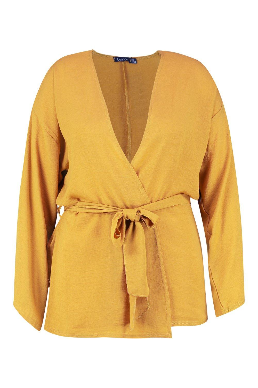 con Plus manga mostaza Kimono ancha dq4fdU