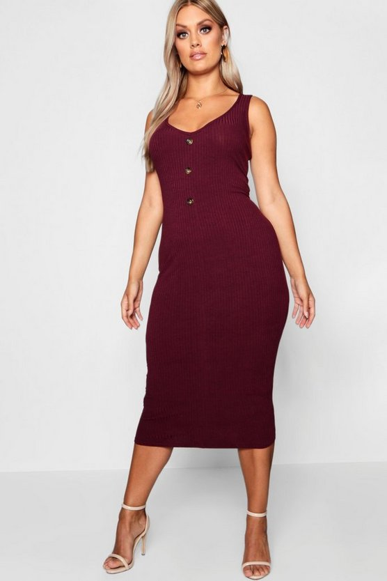 Womens Berry Plus Button Ribbed Midi Dress