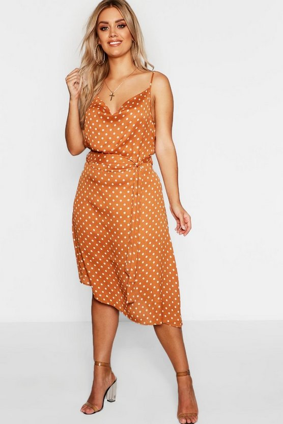 Womens Plus Satin Polka Dot Cowl Neck Midi Dress