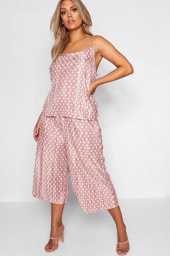 Plus Metallic Polka Dot Culotte Trouser