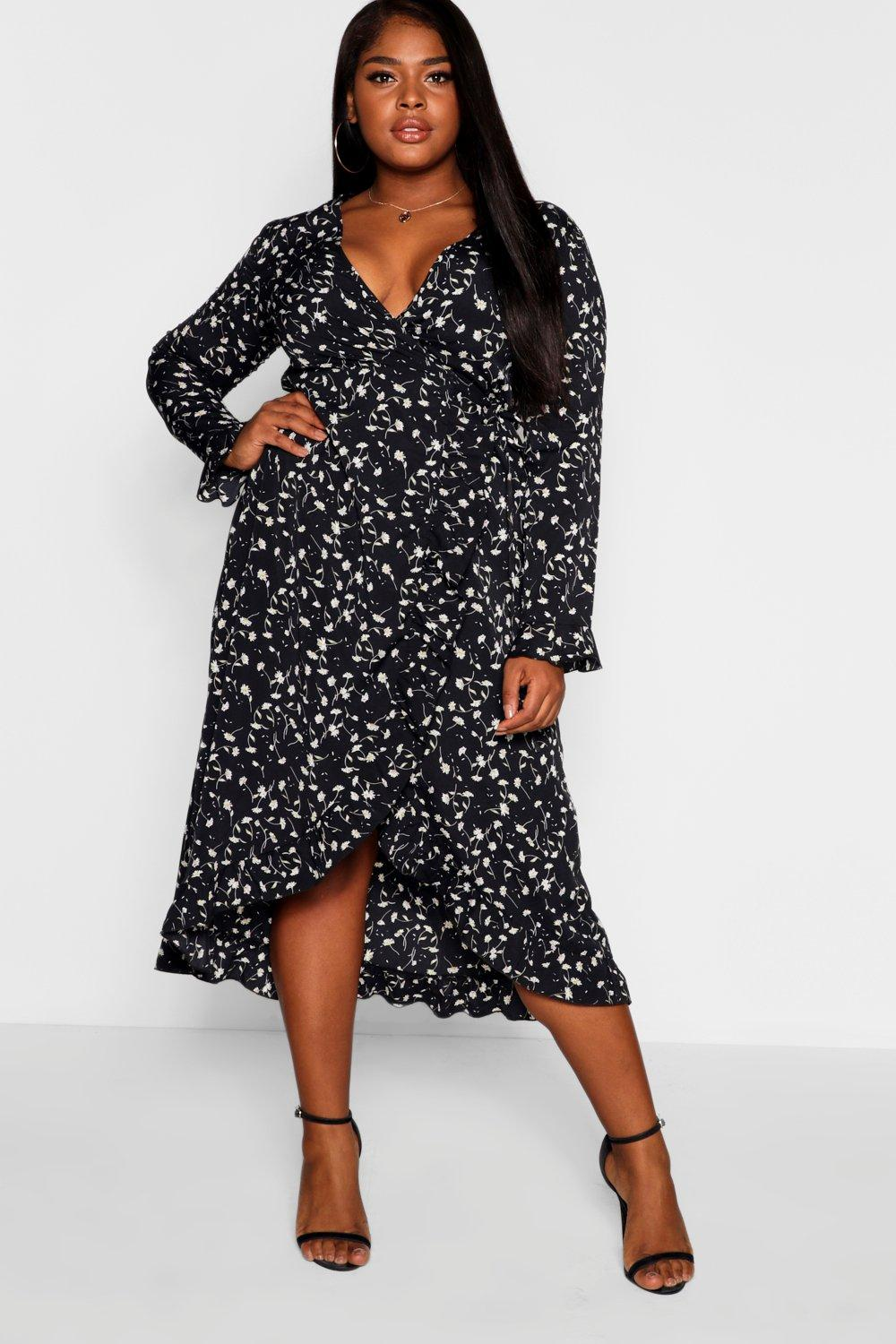 38a238993796 Plus Floral Print Wrap Midi Dress. Hover to zoom