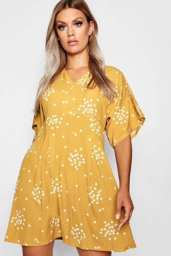 Plus Star Print Plunge Skater Dress