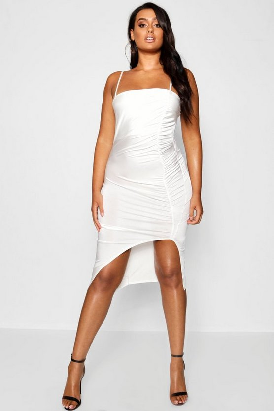 Plus Chain Strap Ruched Detail Midi Dress