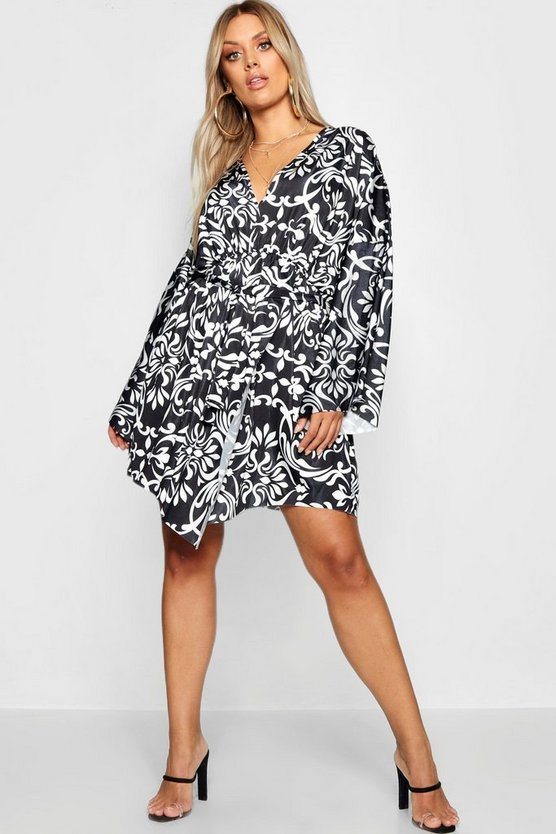 Plus Kimono Detail Dress