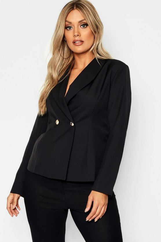 Plus Collarless Gold Button Blazer