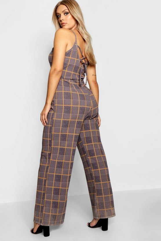 Womens Mustard Plus Check Print Jumpsuit