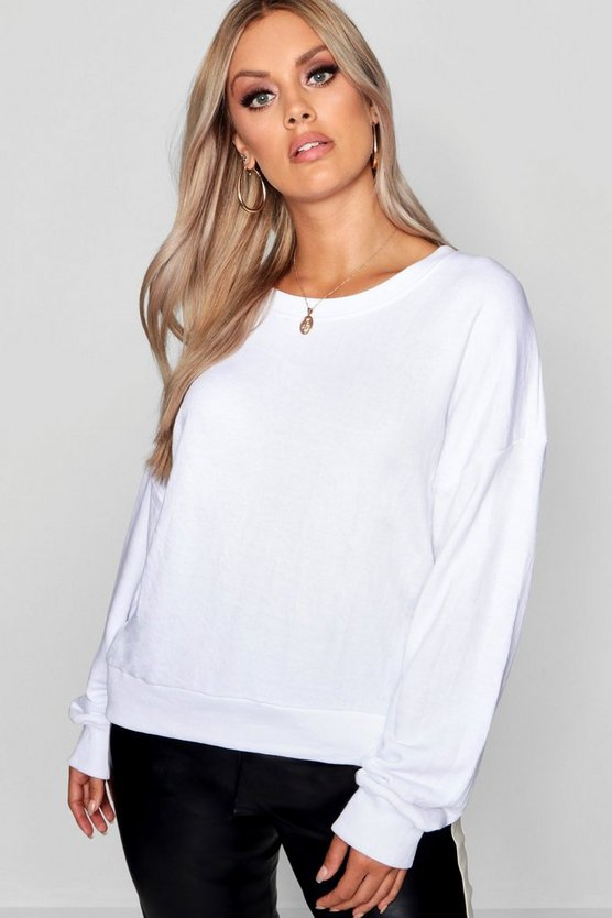Womens White Plus Oversized Slouchy Sweat