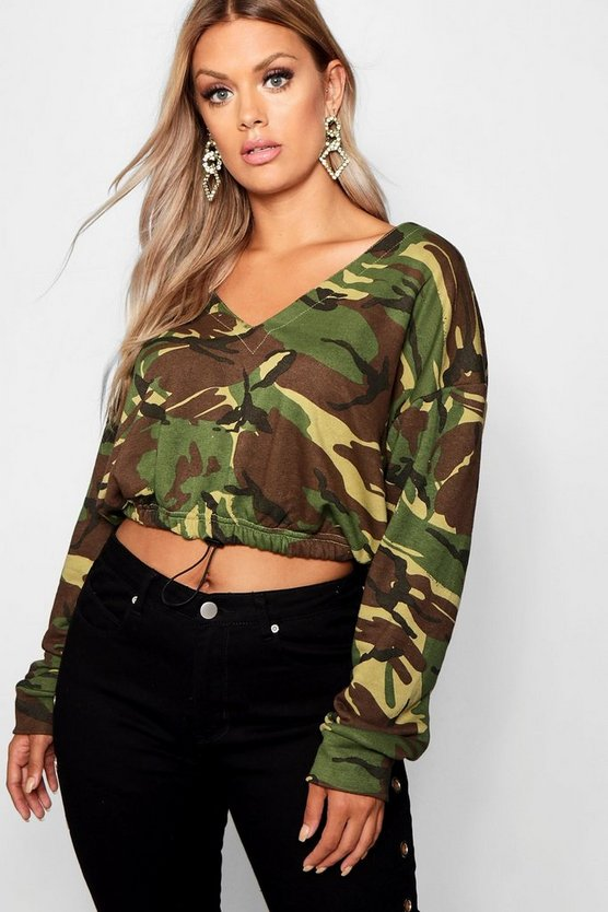 Womens Khaki Plus Camo Cropped Sweatshirt