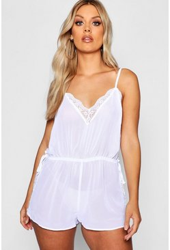 Womens White Plus Lace Panel Teddy