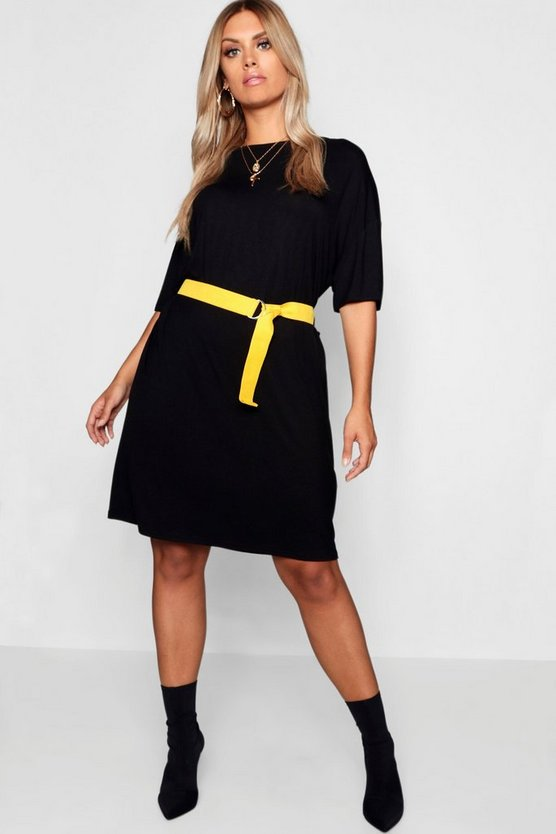 Womens Black Plus Belted Tshirt Dress