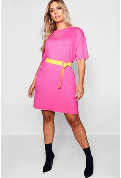 Womens Pink Plus Belted Tshirt Dress