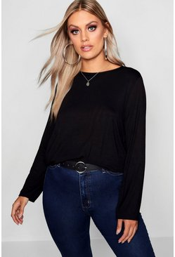 Womens Black Plus Jersey Long Sleeve Open Back Tshirt