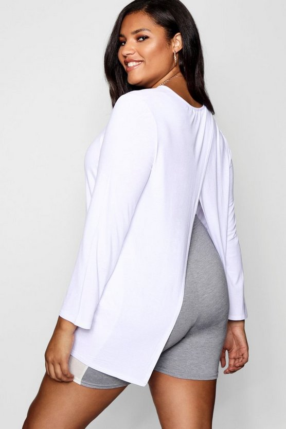 Plus Jersey Long Sleeve Open Back Tshirt