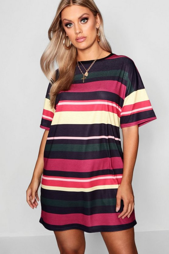 Plus Striped Tshirt Dress, Berry, ЖЕНСКОЕ