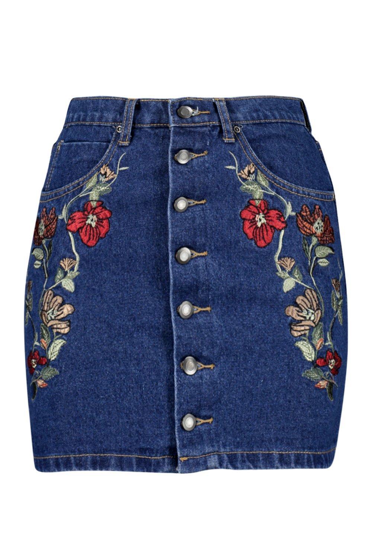 Gonna ricamata jeans Petite di longuette rw8Yqzr