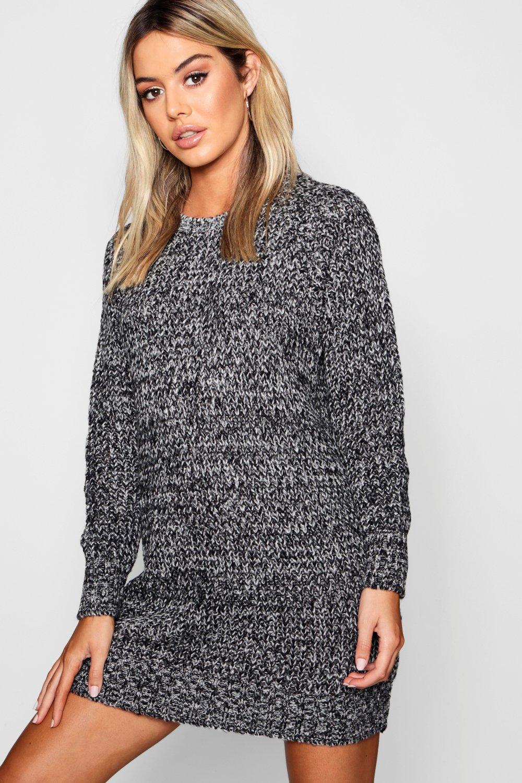 estilo suéter Vestido Petite en punto negro suave UH0wqd