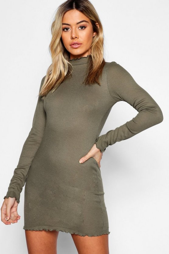 Petite Rib Lettuce Hem Turtle Neck Dress