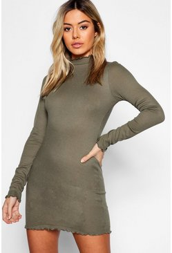 Womens Khaki Petite Rib Lettuce Hem Turtle Neck Dress