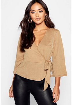 Womens Olive Petite Kimono Sleeve Belted Wrap Top