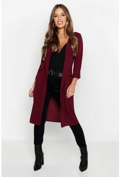 Womens Berry Petite Woven Duster Coat