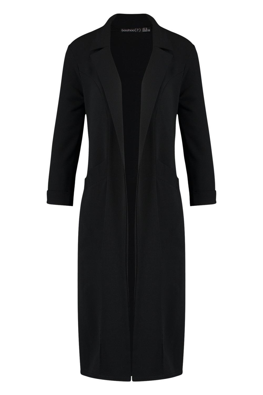 Abrigo guardapolvo tejido negro negro tejido Petite Abrigo guardapolvo Petite Abrigo guardapolvo EOww5gqW