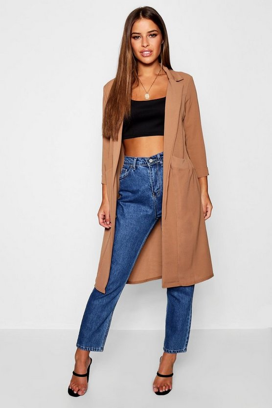 Womens Camel Petite Woven Duster Coat