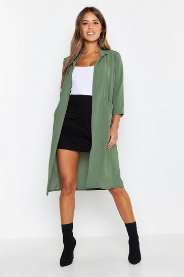 Womens Khaki Petite Woven Duster Coat