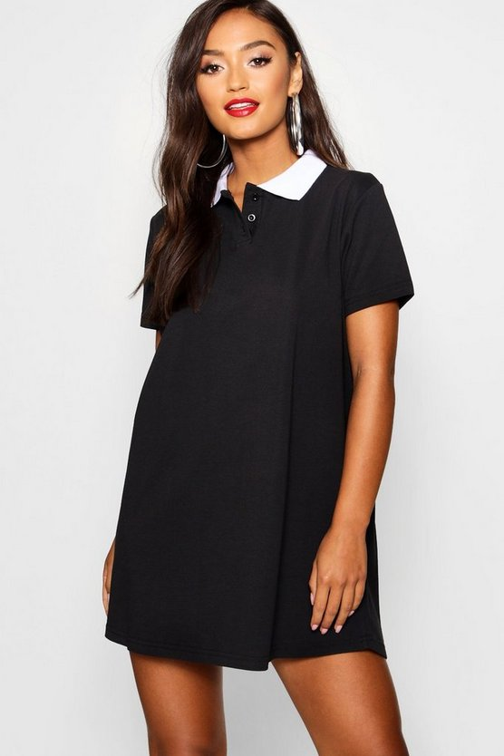 Womens Black Petite Polo Shirt Style Mini Dress
