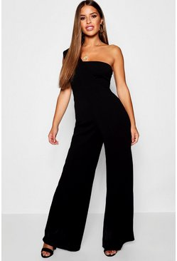 Womens Black Petite One Shoulder Cross Over Jumpsuit