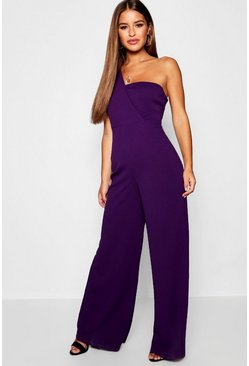 Purple Petite One Shoulder Cross Over Jumpsuit