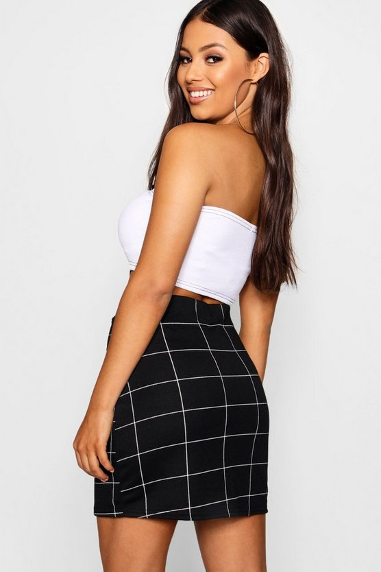 Petite Check Ring Pull A Line Skirt