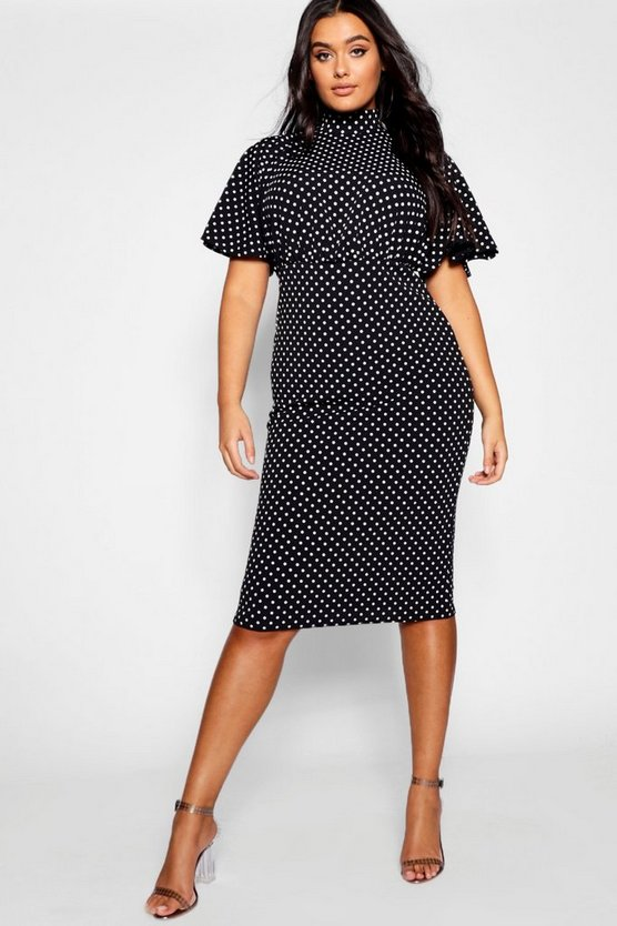 Womens Black Plus Polka Dot Midi Dress