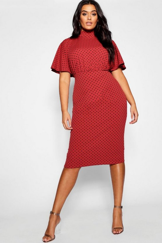 Plus Polka Dot Midi Dress