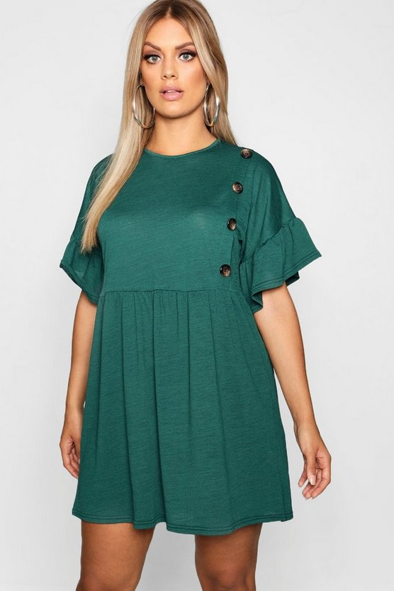Plus Horn Button Frill Skater Dress