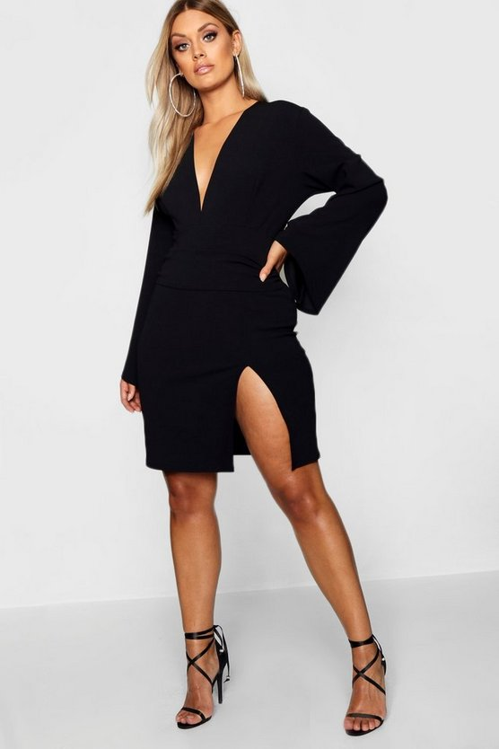 Womens Black Plus Plunge Flare Sleeve Wrap Dress