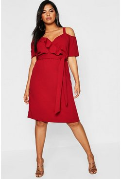 Berry Plus Plunge Ruffle Belt Midi Dress