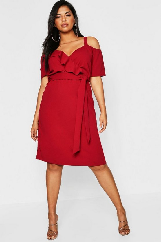Womens Berry Plus Plunge Ruffle Belt Midi Dress