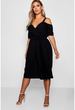 Womens Black Plus Plunge Ruffle Belt Midi Dress