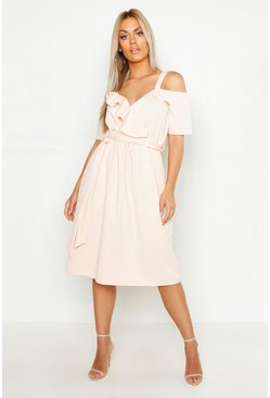 Womens Blush Plus Plunge Ruffle Belt Midi Dress
