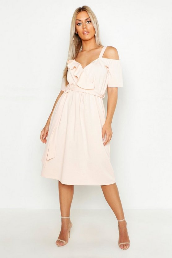 Plus Plunge Ruffle Belt Midi Dress