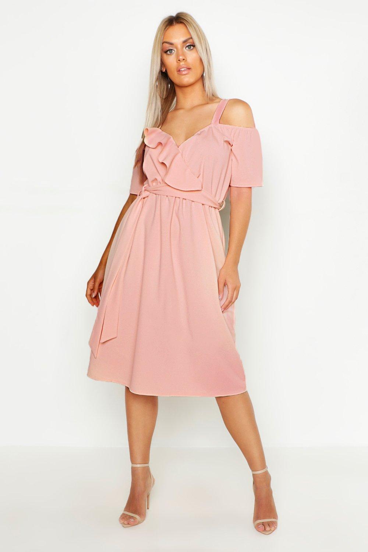 4e0a456fb5c8 Womens Blush Plus Plunge Ruffle Belt Midi Dress. Hover to zoom