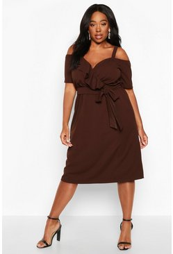 Chocolate Plus Plunge Ruffle Belt Midi Dress