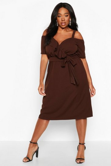 Womens Chocolate Plus Plunge Ruffle Belt Midi Dress