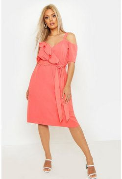 Coral Plus Plunge Ruffle Belt Midi Dress