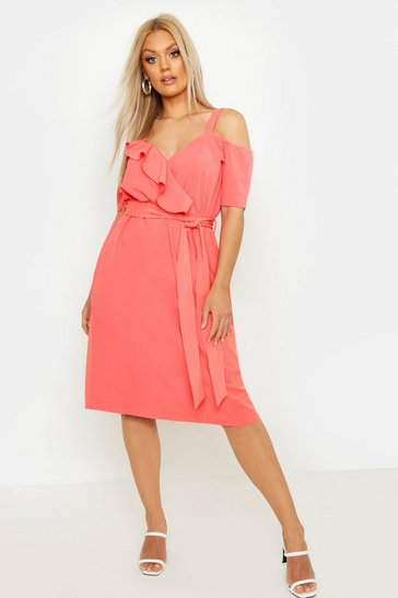 Womens Coral Plus Plunge Ruffle Belt Midi Dress